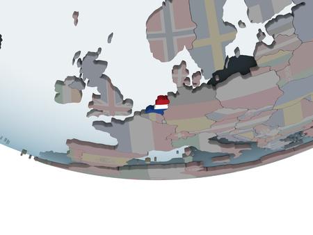 Netherlands on political globe with embedded flag. 3D illustration.