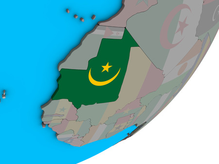 Mauritania with national flag on blue political 3D globe. 3D illustration. Фото со стока