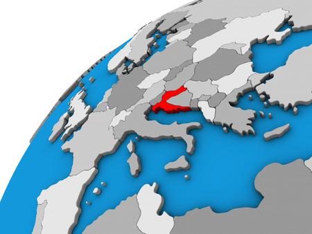 Croatia on 3D globe. 3D illustration.