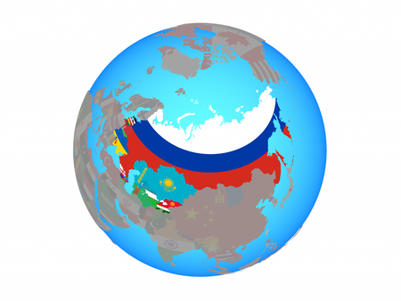 Former Soviet Union with national flags on blue political globe. 3D illustration isolated on white background.