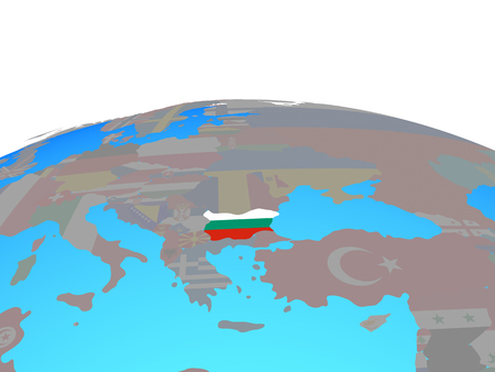 Bulgaria with national flag on political globe. 3D illustration.