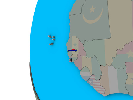 Gambia with national flag on blue political 3D globe. 3D illustration.