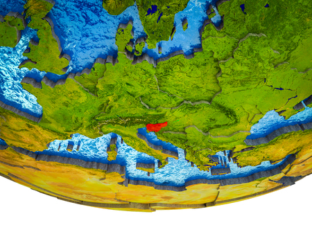 Slovenia on 3D Earth with divided countries and watery oceans. 3D illustration. Banco de Imagens