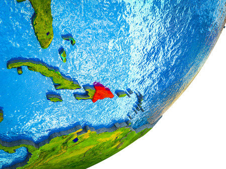 Dominican Republic on 3D model of Earth with water and divided countries. 3D illustration.