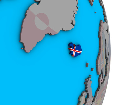Iceland with embedded national flag on simple political 3D globe. 3D illustration.