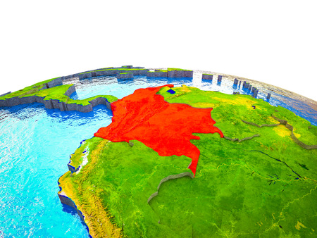 Colombia on 3D Earth with visible countries and blue oceans with waves. 3D illustration. Reklamní fotografie
