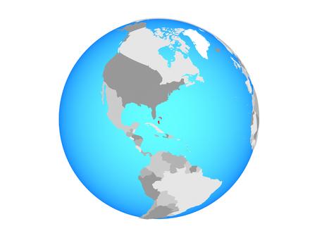 Bahamas on blue political globe. 3D illustration isolated on white background.