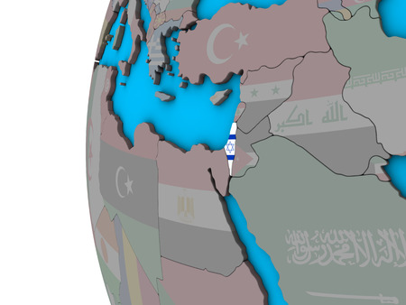 Israel with national flag on blue political 3D globe. 3D illustration. Stock Photo