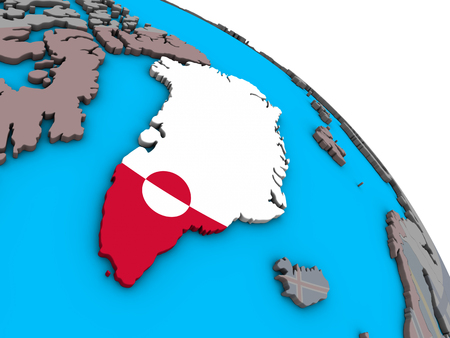 Greenland with embedded national flag on simple blue political 3D globe. 3D illustration.