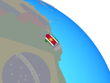 Suriname with national flag on simple blue political globe. 3D illustration. Stockfoto
