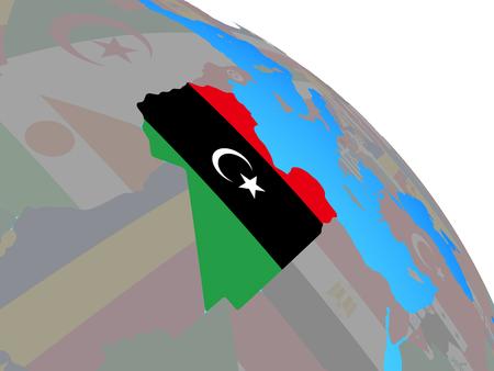 Libya with national flag on simple blue political globe. 3D illustration.