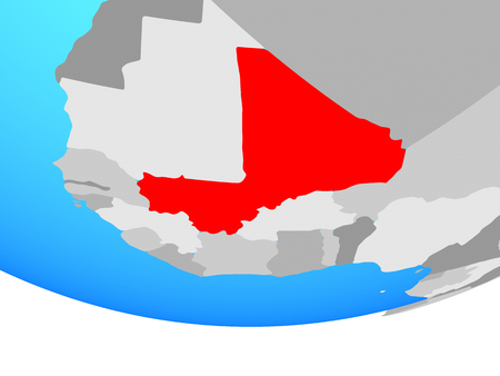 Mali on simple political globe. 3D illustration. Stock Photo
