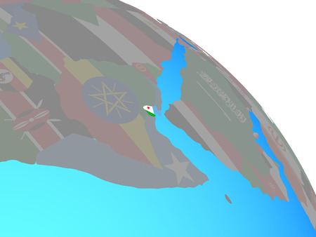 Djibouti with national flag on simple blue political globe. 3D illustration. Stock Photo