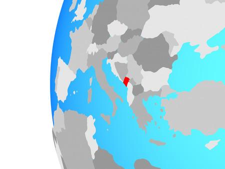 Montenegro on blue political globe. 3D illustration.