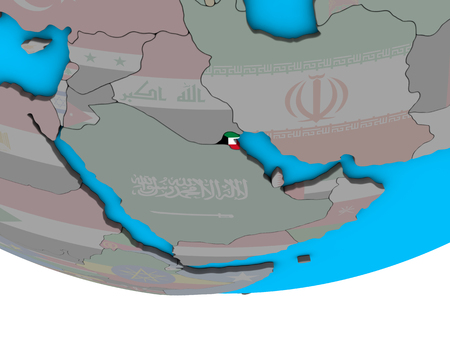 Kuwait with embedded national flag on simple political 3D globe. 3D illustration.