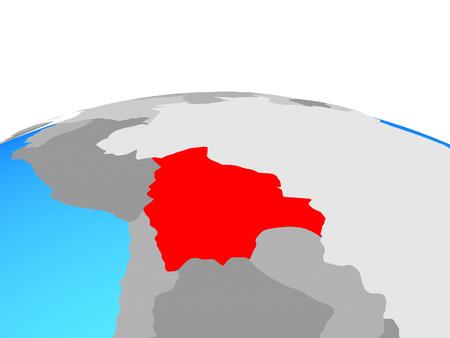 Bolivia on political globe. 3D illustration.