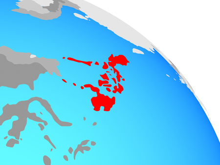 Philippines on simple blue political globe. 3D illustration. Stock Photo