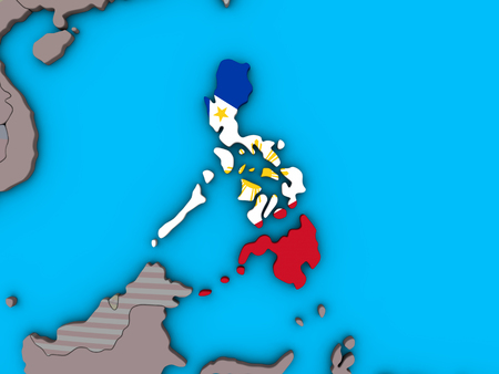 Philippines with embedded national flag on blue political 3D globe. 3D illustration.