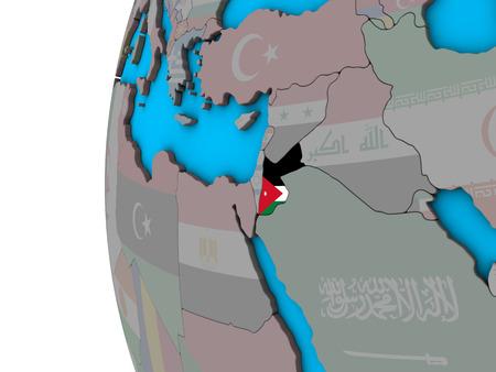 Jordan with national flag on blue political 3D globe. 3D illustration.