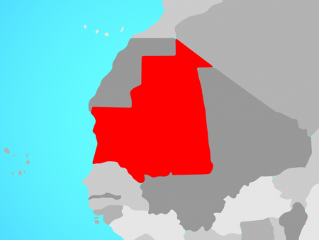 Mauritania on blue political globe. 3D illustration.
