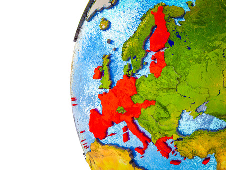 Eurozone member states highlighted on 3D Earth with visible countries and watery oceans. 3D illustration. Stock Photo
