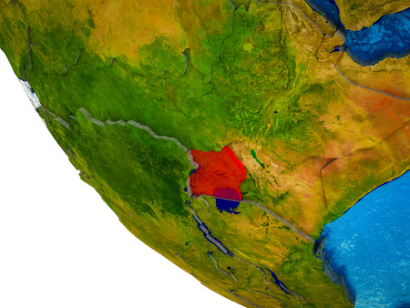 Uganda on model of Earth with country borders and blue oceans with waves. 3D illustration.
