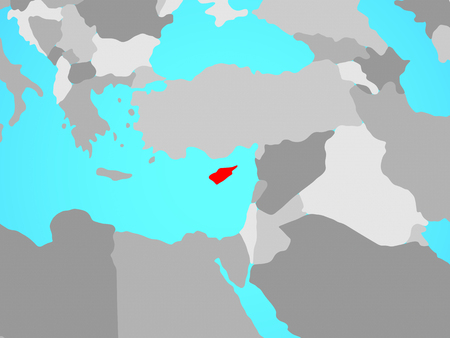 Cyprus on blue political globe. 3D illustration. Фото со стока