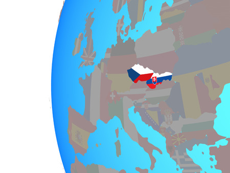 Former Czechoslovakia with embedded national flags on blue political globe. 3D illustration. Stock Photo
