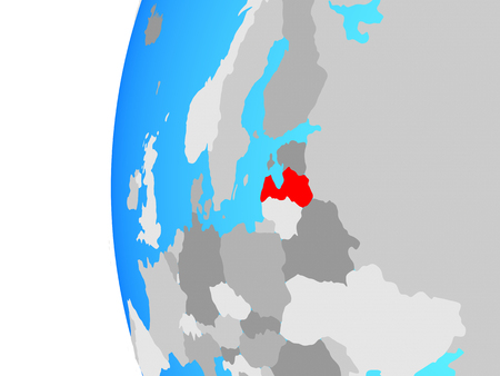 Latvia on blue political globe. 3D illustration. 스톡 콘텐츠