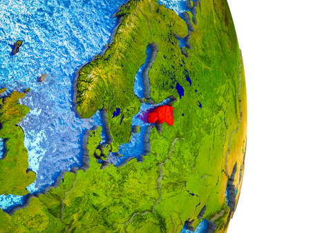 Estonia on 3D model of Earth with divided countries and blue oceans. 3D illustration.