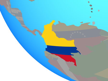Colombia with national flag on simple globe. 3D illustration.