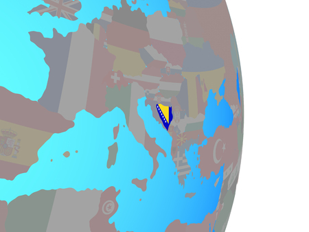 Bosnia and Herzegovina with national flag on simple political globe. 3D illustration.