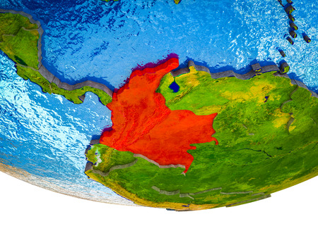 Colombia on 3D Earth with divided countries and watery oceans. 3D illustration.