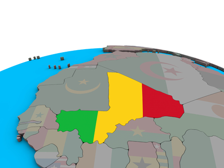 Mali with embedded national flag on political 3D globe. 3D illustration.