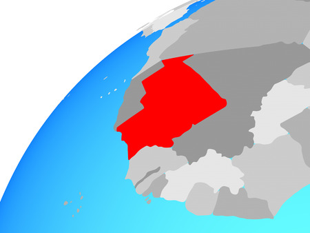Mauritania on globe. 3D illustration. Фото со стока