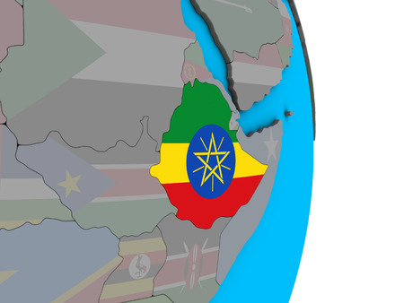Ethiopia with embedded national flag on simple political 3D globe. 3D illustration. Stockfoto