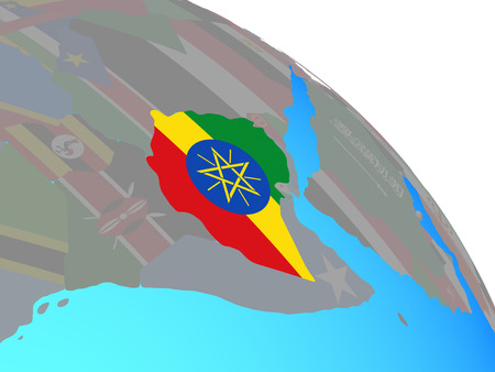 Ethiopia with national flag on simple blue political globe. 3D illustration.