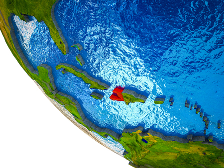 Haiti on model of Earth with country borders and blue oceans with waves. 3D illustration. Stock Photo