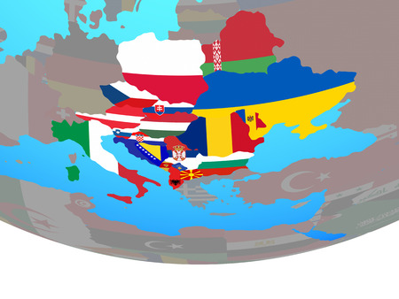 CEI countries with national flags on simple political globe. 3D illustration. 스톡 콘텐츠