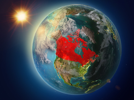 Sunset above Canada highlighted in red on planet Earth with atmosphere and clouds. 3D illustration.
