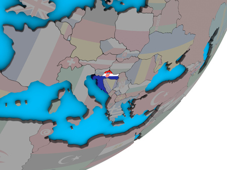 Croatia with national flag on blue political 3D globe. 3D illustration.