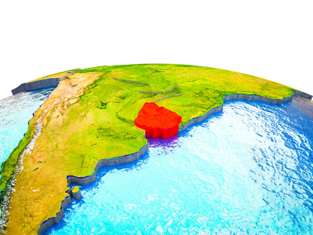 Uruguay on 3D Earth with visible countries and blue oceans with waves. 3D illustration. Imagens