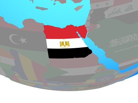 Egypt with national flag on simple political globe. 3D illustration.
