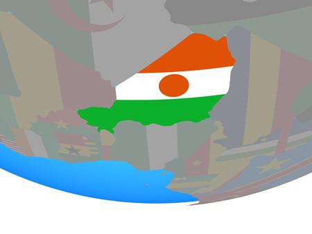 Niger with national flag on simple political globe. 3D illustration.