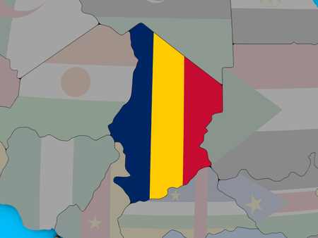 Chad with embedded national flag on blue political 3D globe. 3D illustration.