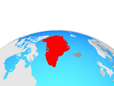 Greenland on political globe. 3D illustration.