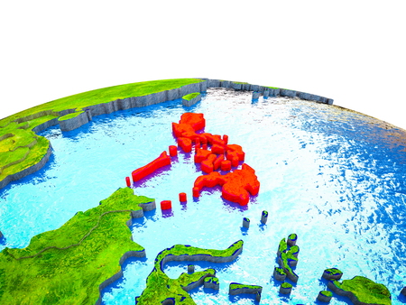 Philippines on 3D Earth with visible countries and blue oceans with waves. 3D illustration.