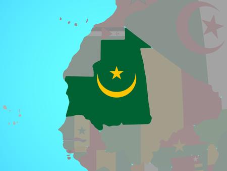 Mauritania with national flag on blue political globe. 3D illustration.