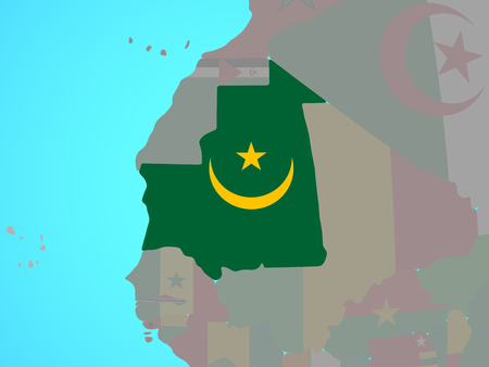 Mauritania with national flag on blue political globe. 3D illustration.