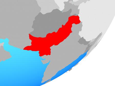 Pakistan on blue political globe. 3D illustration. Фото со стока
